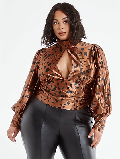 Plus Size Shavonne Mockneck Animal Print Blouse - Fashion To Figure