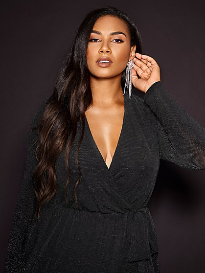 Plus Size Shawnee Black Metallic Wrap Dress - Gabrielle Union x FTF - Fashion To Figure