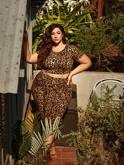 Plus Size Shawnee Leopard Harem Skirt - Fashion To Figure