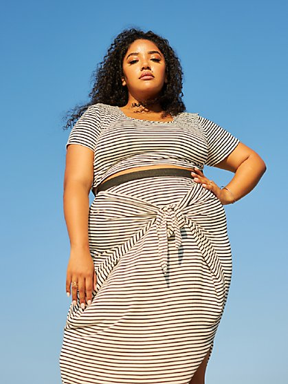 Plus Size Shawnee Striped Crop Top - Fashion To Figure