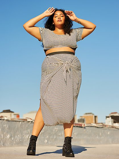 Plus Size Shawnee Striped Harem Skirt - Fashion To Figure
