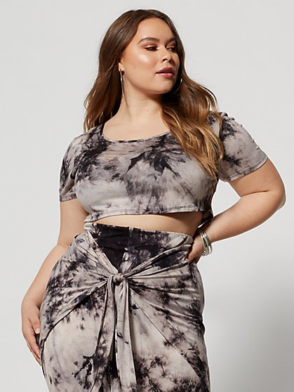 Plus Size Shawnee Tie-Dye Crop Top - Fashion To Figure