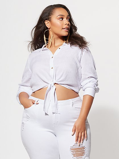 Plus Size Shay Tie-Front Top - Fashion To Figure