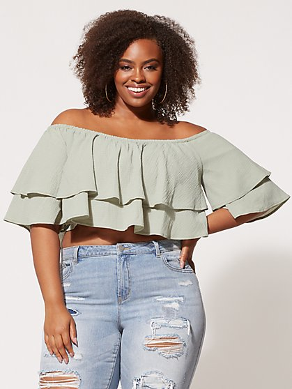Plus Size Shea Ruffle Crop Top - Fashion To Figure