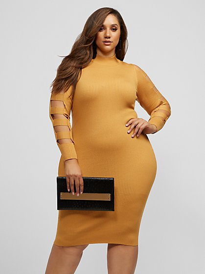 Plus Size Shellee Cut-Out Sleeve Sweater Dress - Fashion To Figure
