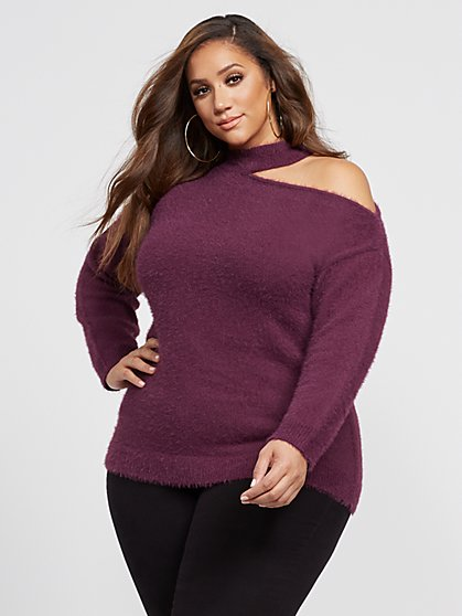 Plus Size Sherri Cut-Out Shoulder Sweater - Fashion To Figure
