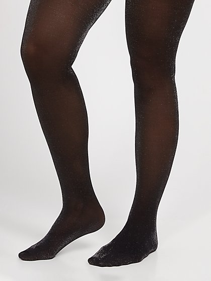 Plus Size Shimmery Black Tights - Fashion To Figure