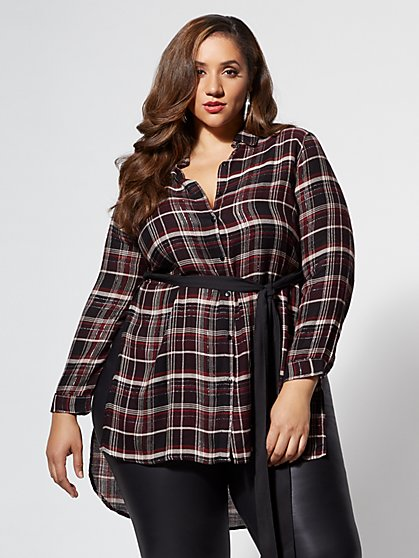Plus Size Shimmery Plaid Tie Blouse - Fashion To Figure