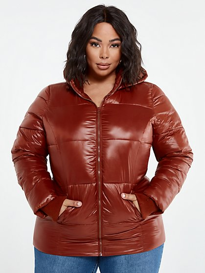 Plus Size Shine On Puffer Coat - Fashion To Figure