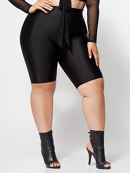 Plus Size Shiny Bike Shorts - Fashion To Figure