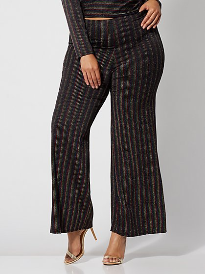 Plus Size Shonda Glitter Striped Pants - Fashion To Figure