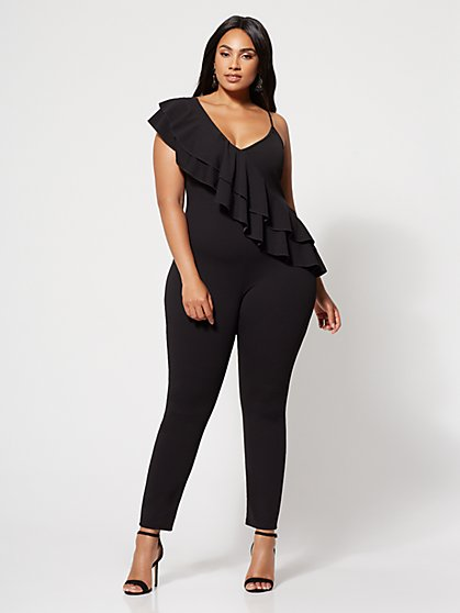 Plus Size Sienna Drama Ruffle Jumpsuit - Fashion To Figure