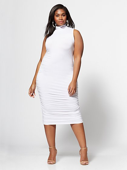 Plus Size Sienna Ruched Midi Dress - Fashion To Figure