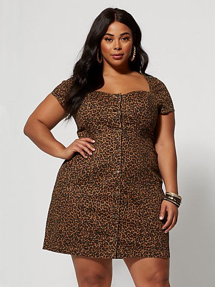 Plus Size Sierra Animal Print Denim Dress - Fashion To Figure