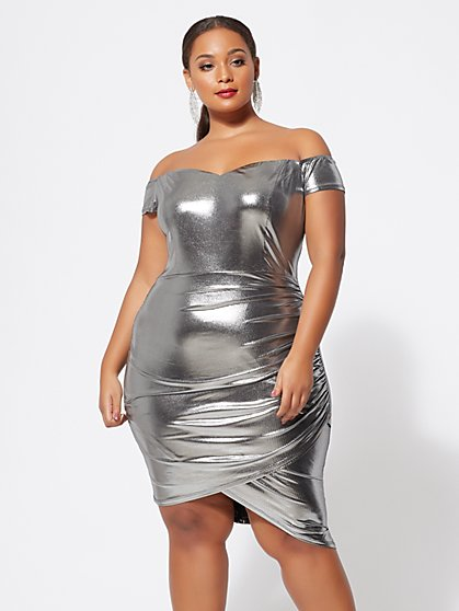Plus Size Sierrah Silver Off-Shoulder Dress - Fashion To Figure