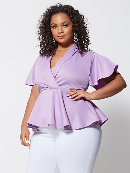 Plus Size Signature - Sienna Peplum Top - Fashion To Figure