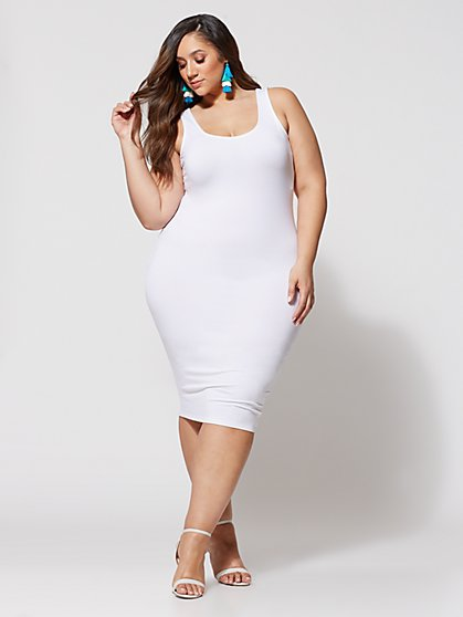 Plus Size Signature - Sleeveless Everyday Midi Dress - Fashion To Figure