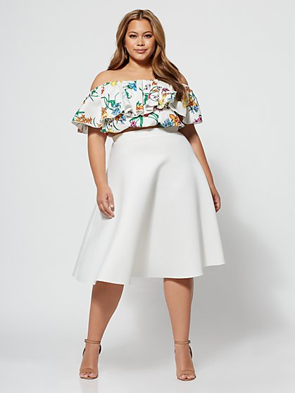 Plus Size Signature - Sofie Circle Midi Skirt - Fashion To Figure