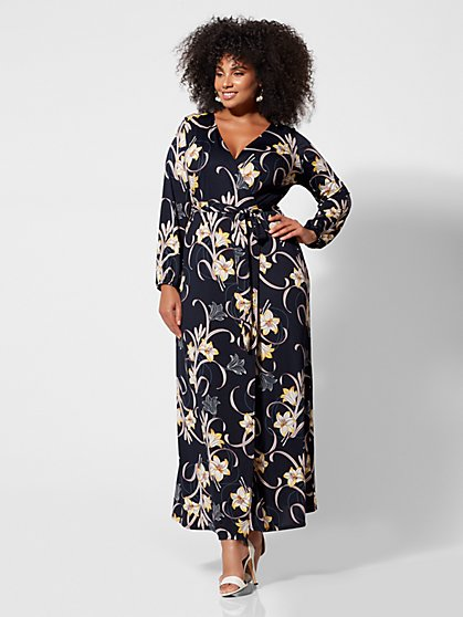 db0457dfeecd0 Plus Size Signature - Sophia Floral Wrap Maxi Dress - Fashion To Figure ...