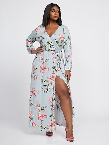 Plus Size Signature - Sophia Floral Wrap Maxi Dress - Fashion To Figure
