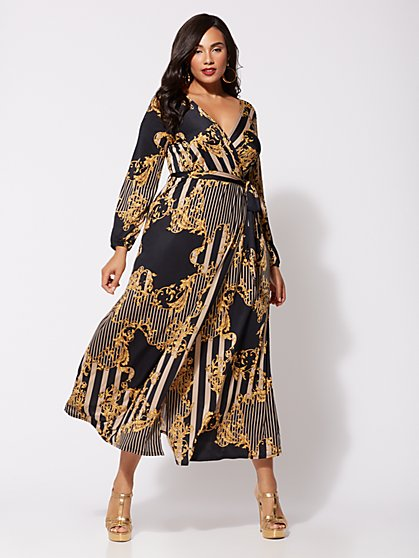 Plus Size Signature - Sophia Status Print Maxi Dress - Fashion To Figure
