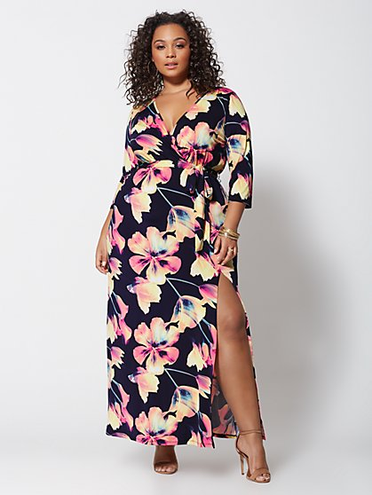 Plus Size Signature - Sophia Wrap Maxi Dress - Fashion To Figure