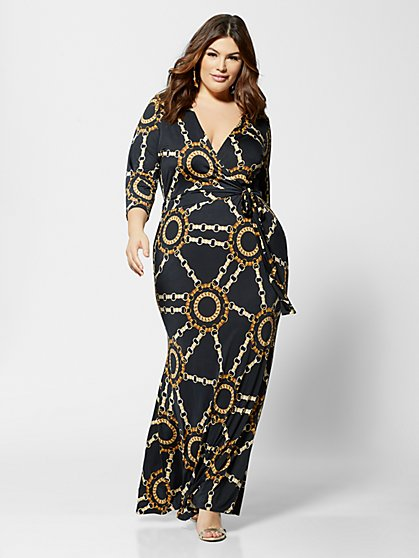 Plus Size Signature - Sophie Chain Print Wrap Dress - Fashion To Figure