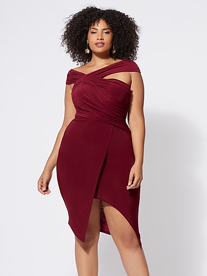 Plus Size Cocktail Dresses with Red White