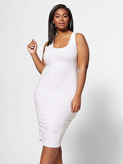 Plus Size Signature - White Sleeveless Everyday Midi - Fashion To Figure