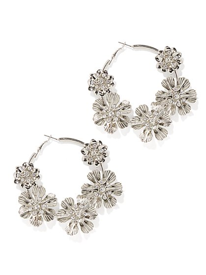 Plus Size Silver Floral Hoop Earring - Fashion To Figure