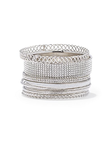 Plus Size Silver Rhinestone Bracelet Set - Fashion To Figure