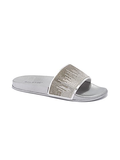 Plus Size Silver Rhinestone Slide Sandals - Fashion To Figure