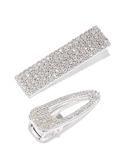 Plus Size Silver-Tone Rhinestone Hairclip Set - Fashion To Figure