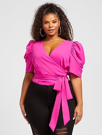 Plus Size Simone Puff Sleeve Wrap Blouse - Fashion To Figure