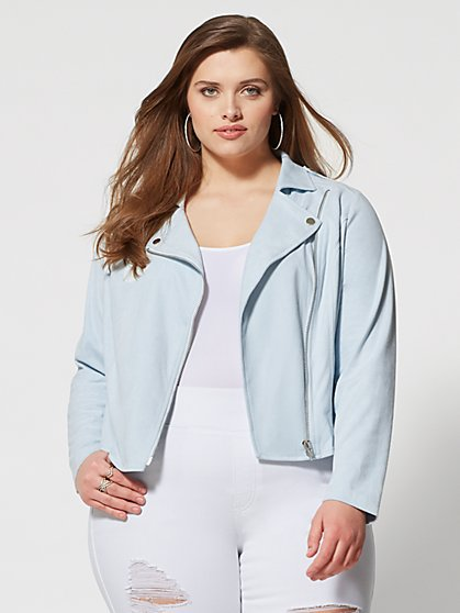 Plus Size Skye Faux Suede Moto Jacket - Fashion To Figure