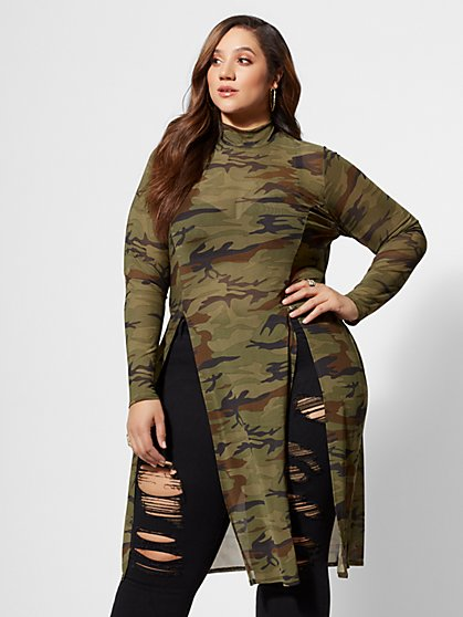 Plus Size Skyler Camo Mesh Tunic - Fashion To Figure
