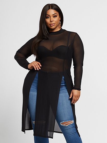 Plus Size Skyler Mesh Tunic - Fashion To Figure