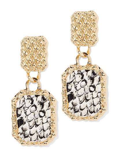 Plus Size Snake Print Dangle Earring - Fashion To Figure