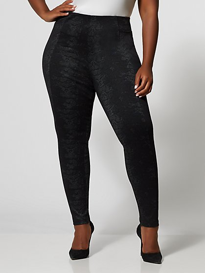 Plus Size Snake Print Ponte Pants - Fashion To Figure