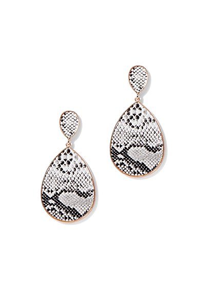 Plus Size Snake Print Teardrop Earring - Fashion To Figure