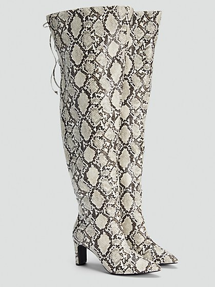 Plus Size Snake Print Thigh High Boots - NADIA X FTF - Fashion To Figure
