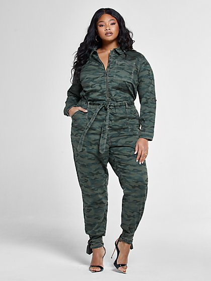 Plus Size Sofia Camo Denim Jumpsuit - Fashion To Figure