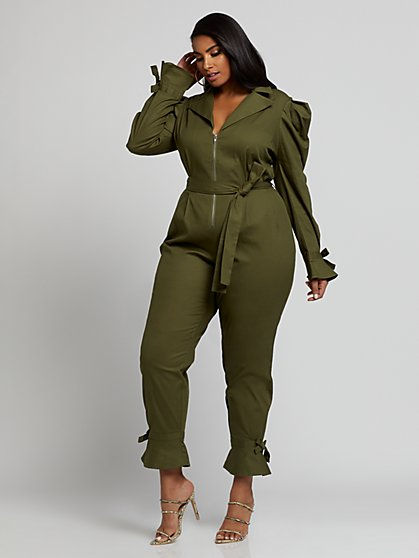 Plus Size Sofia Puff Sleeve Jumpsuit - Fashion To Figure