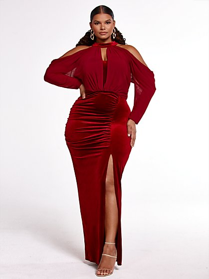 Plus Size Soft Edges Velvet Gown - SRV x FTF - Fashion To Figure