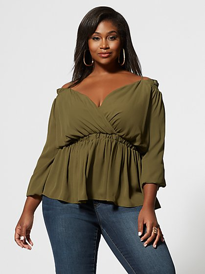 Plus Size Solange Cold Shoulder Peplum Top - Fashion To Figure