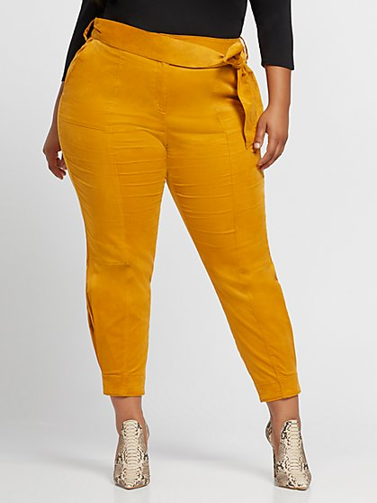 Plus Size Soleil Belted Pleat Detail Pant - Fashion To Figure