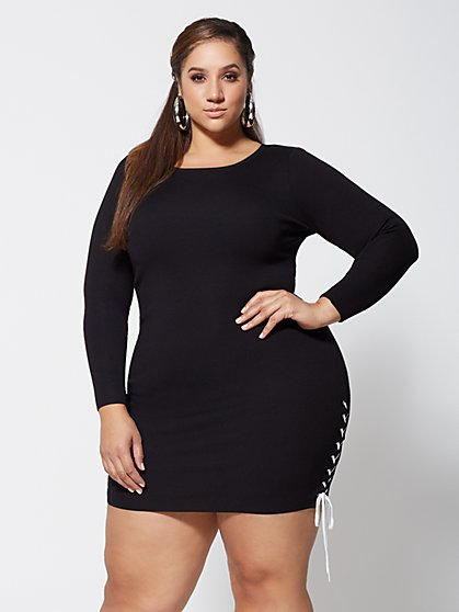 Plus Size Sondra Lace-Up Sweater Dress - Fashion To Figure