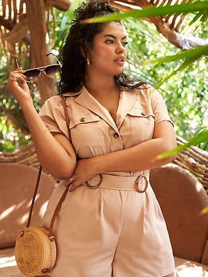 Plus Size Sonya Belted Safari Romper - Fashion To Figure