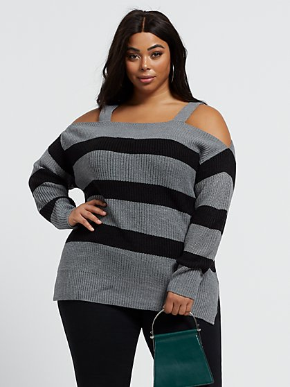 Plus Size Sophie Striped Cold Shoulder Sweater - Fashion To Figure