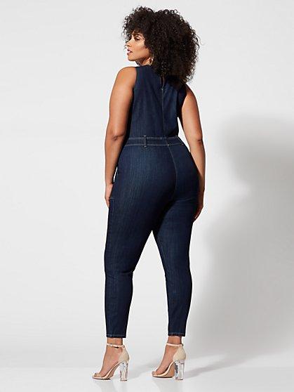 b2656920d6 ... Plus Size Soraya Denim Zip-Front Jumpsuit - Fashion To Figure ...